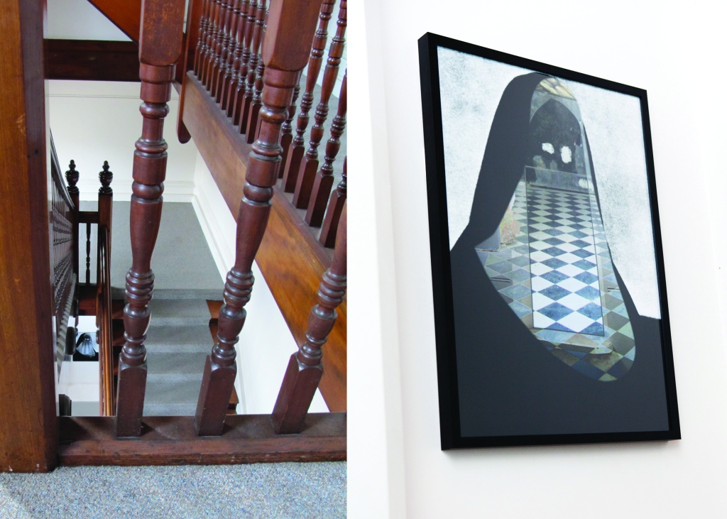 Mediumistic: experiential sound and sculpture walk, Kasia Lynch, 2014, work in situ: 'Be very careful on the stairs', photographic collage 50 x 70cm, signage, sound composition.